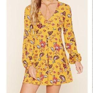 Forever 21 Paisley Long Sleeve Mini Dress